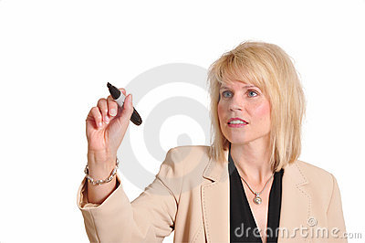 Businesswoman with marker