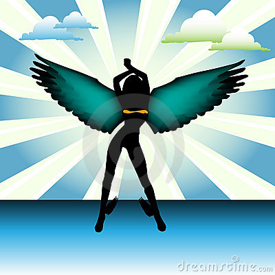 Angel with colorful wings