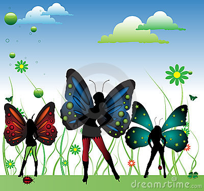 Fairies with colorful wings