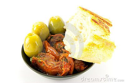 Sun Dried Tomatoes, Olives and Crusty Bread