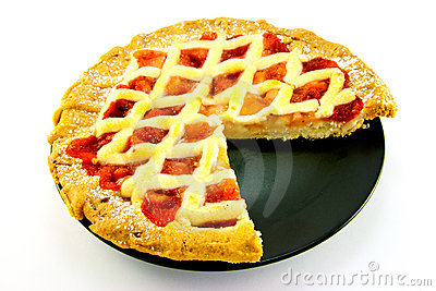 Apple and Strawberry Pie with a Slice Missing