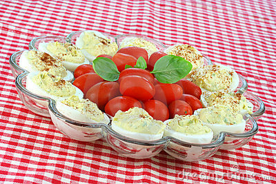 Deviled Eggs and Grape Tomatoes
