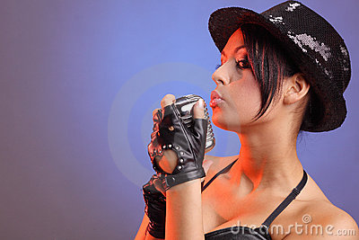 Beautiful girl with old retro microphone