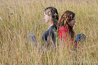 Girls in an autumn field
