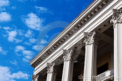 Columns of russian theatre building in Moscow