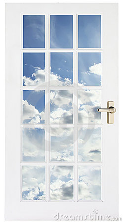 White door with sky behind