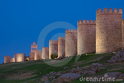 Walls of Avila at dusk
