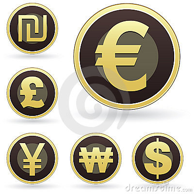 International currency icons on orb vector buttons