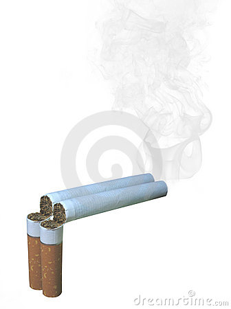 Two cracked cigarettes -  protect health concept