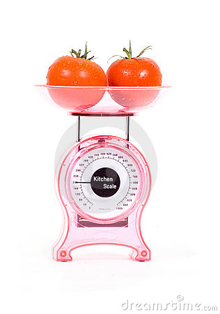 Kitchen Scales with fresh tomatoes
