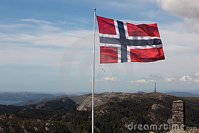 Flag on top of Ulriken