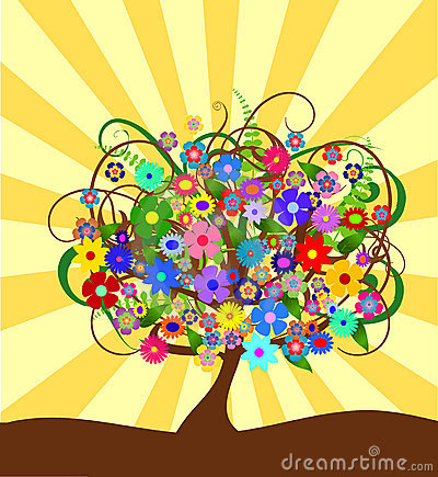 Colorful abstract flower tree om a sunny day