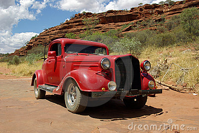 Old red classic car
