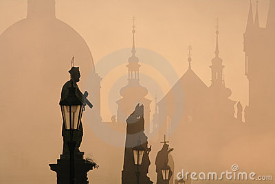 Charles bridge, towers of the old town