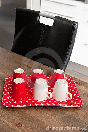 Coffee mugs at the table