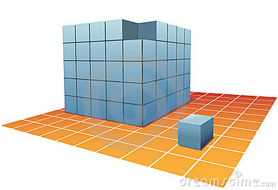 Cubes Puzzle Box stacks on grid floor