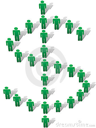 People stand form money dollar