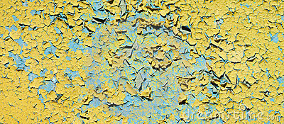 Old dirty cracked yellow wall of ruins