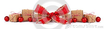 Christmas border with brown and white gift boxes and red bow isolated
