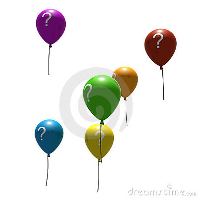 Balloons with question-mark symbols