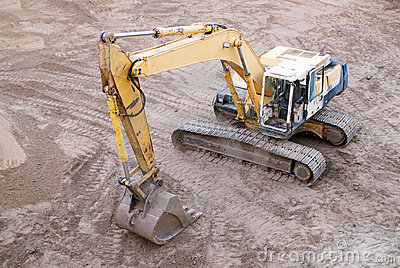 Working Excavator from Above