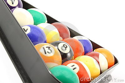 Rack of pool billiard balls