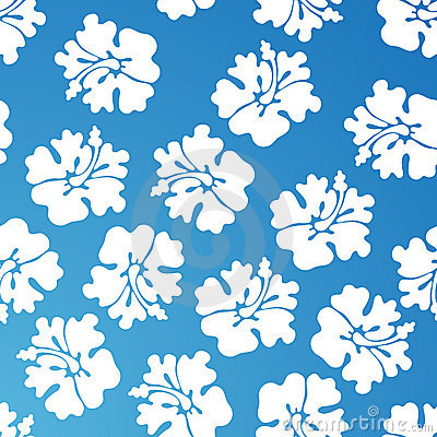 Hibiscus Pattern - Blue