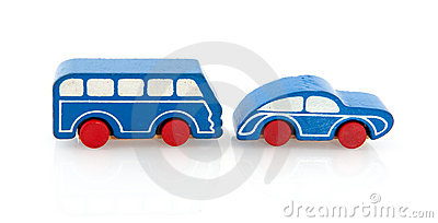 Wooden toy car and bus