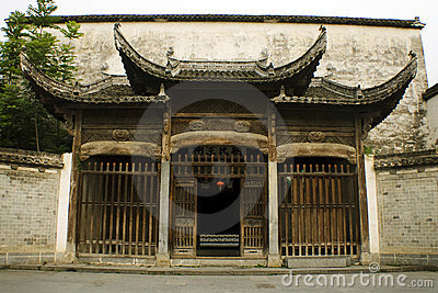 Entrance to a classic noble house in xidi, china
