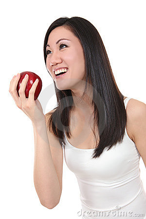 Asian Woman Eating Apple