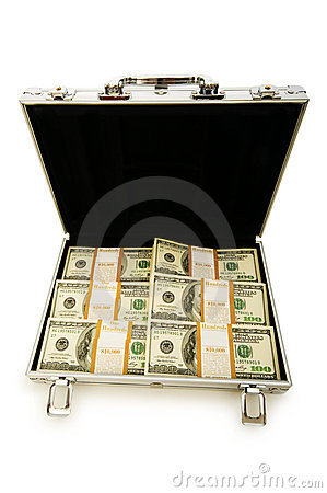 Money in the case isolated