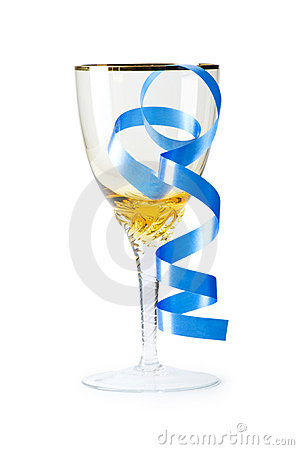 Wine glass with streamer isolated