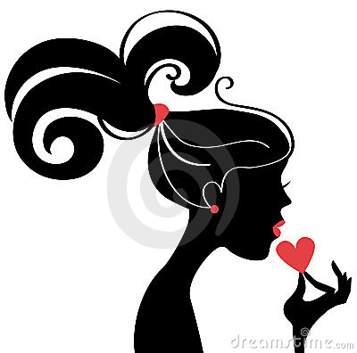 Beautiful woman silhouette profile