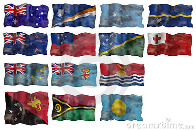 Set of  Australia and Pacific basin countries flag