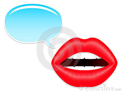 Female mouth with speech bubbles