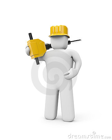Worker hold jackhammer