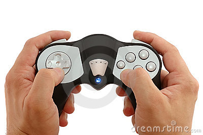 Man's hands with the game controller