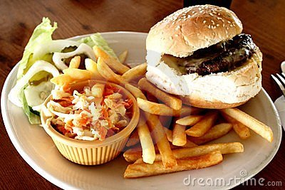 Cheesburger and french fries