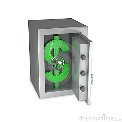 Dollar symbol of steel in a safe
