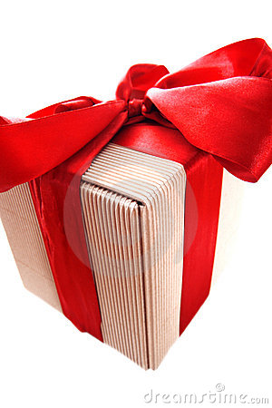 Box gift with red ribbon