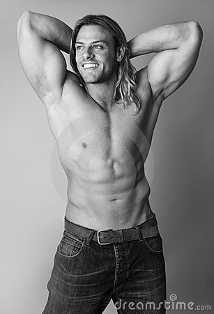 Athletic sexy male body builder