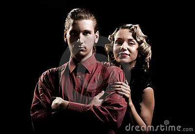 Portrait of young couple in retro style