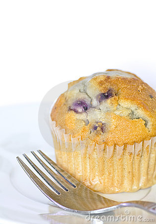 Delicious Blueberry Muffin and Fork on Plate