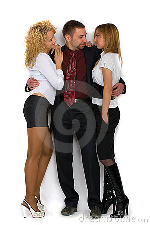 Business man with two girls
