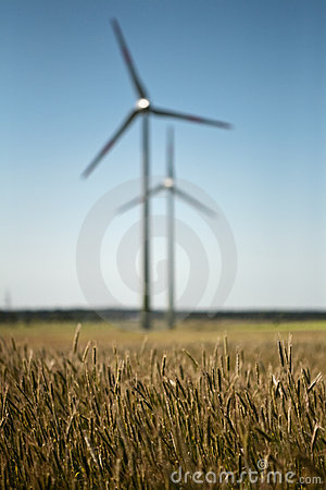 Windfarm in green fields
