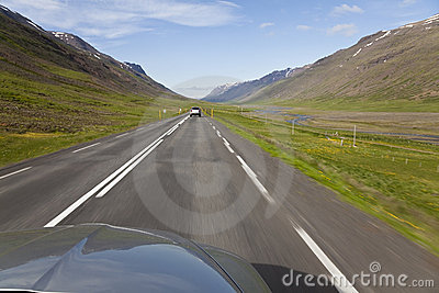 Driving Through Iceland Highlands