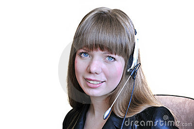 Girl Operator With Headset Over White