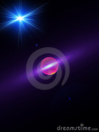 Planet, space, rays of light