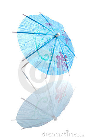 Blue Cocktail Umbrella With Reflection