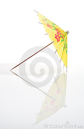 Yellow Cocktail Umbrella With Full Reflection